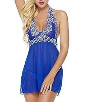 Bluetime Womens Lace Babydoll Sleepwear Halter Nightwear Sexy Lingerie Outfits