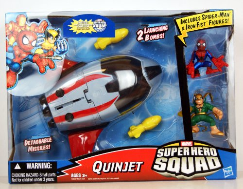  Marvel Superhero Squad Battle Vehicle - Quinjet With Spider-Man And Iron Fist