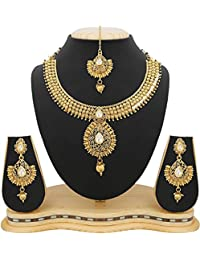 Jewels Galaxy Delicately Designed Gold Plated Traditional Kundan Necklace Set With Maang-Tika For Wedding/Party