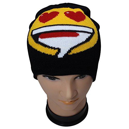 Unisex-Emoji-Beanie-Hat-Emoticon-Print-Skull-Cap