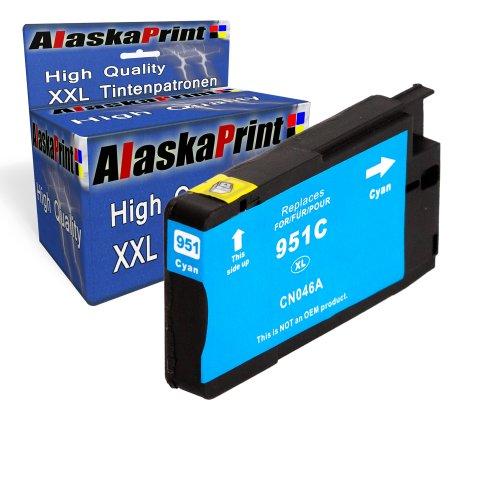 1x Druckerpatrone Ersatz für Hp 1x 951 XL Original alaskaprint Tinte Cyan, 1.500 Seiten Leistung Ersatz für Hp CN046AE ( 951 xl , HP 951 XL ) , Blau