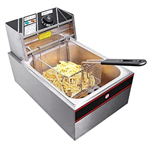 2500W 6 Liter Electric Countertop Deep Fryer Tank Basket Commercial Restaurant by Generic