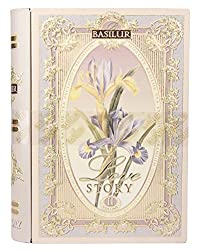 Basilur Pure Ceylon Black and Green leaf tea with amaranth, almond, rose 'Love Story Volume #2' in metal caddy, 100 gr