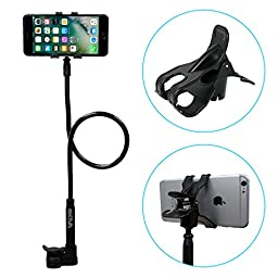 iPhone Holder, Skiva Flexible Long Arms Cell Phone Clip Holder Stand for iPhone 6 6s Plus 5s SE, Samsung Galaxy S7 S6 Edge S5 S4 Note5 Note4, HTC One M9 M8 & more [Universal Fit] (Black)[Model:AH112]