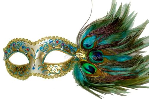 Masquerade Ball mask Turquoise Peacock feather Venetian Mask