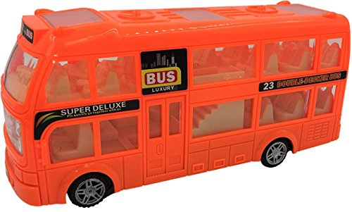 ToyZe ToyZeBump and Go Action, Double Decker Bus Toy, with Lights and Sounds.