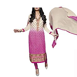 Admyrin Women Cream and Pink Georgette Dress Material