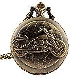 fenkoo Herren Taschenuhren Motorrad-Art-Legierung Analog Quarz Taschenuhr
