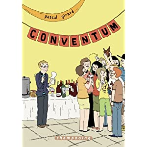 book cover: comic illustration of figure looking isolated at a social gathering