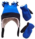 Nice Caps Boys Shrepa Lined Micro Fleece Four Corner Ski Hat and Mitten Set (4-7yrs, black/royal)