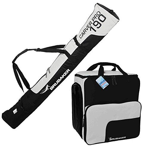 BRUBAKER-Sac--chaussures-de-ski-Super-Function-et-Housse--skis-Carver-Pro-pour-1-Paire-de-skis-Btons-Chaussures-Casque-190-cm-Noir-Argent