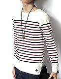 (リピード) REPIDO Tシャツ tシャツ カットソー 長袖 ロンT ロンt 長袖t メンズ ボートネック バスクシャツ クルーネック クルー 丸首 長袖パネルボーダーボートネックTシャツ オフホワイト×ネイビー×レッド Mサイズ