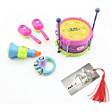 5 Pcs Baby Educational Musical Instruments Toy Set Drums Handbell Trumpet Cabasa