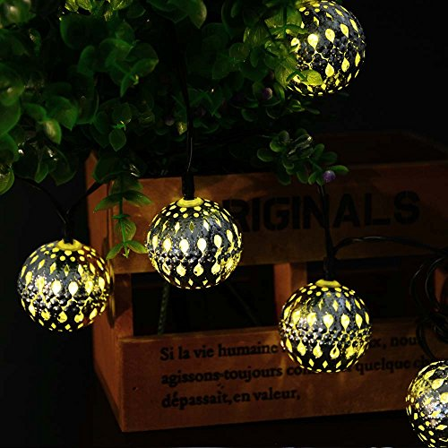 Large Globe String Lights Outdoor : Icicle Solar Moroccan Ball String Lights, 11ft 10 LED Large-Size Globe Fairy Lighting for Indoor ...