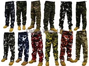 "Adults Camo Army Cargo Combat Trousers - 12 DIFFERENT CAMO PATTERNS! 30""-50"" MUST SEE!"