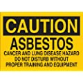 "Brady 22697 Plastic Chemical & Hazardous Materials Sign, 7"" X 10"", Legend ""Asbestos Cancer And Lung Disease Hazard Do Not Disturb Without Proper Training And Equipment"""