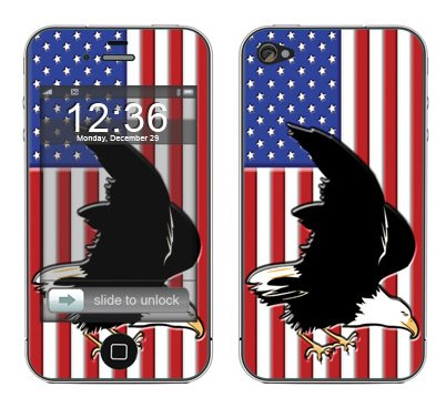 "System Skins ""American Flag 2"" Skin Decal for Apple iPhone 4 Cell 16GB/32GB Compatible with AT&T & Verizon includes FREE Wallpaper!"