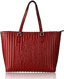 Pijushi Handmade Bamboo Slip Style Genuine Leather Womens Shoulder Handbags 193602 (Red)