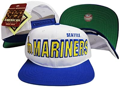 Seattle Mariners Two Tone Plastic Snapback Adjustable Plastic Snap Back Hat / Cap