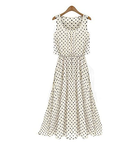 Women Sexy Bohemian Polka Dot Maxi Summer Beach Chiffon Dress White