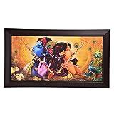 GATTS Beautiful Pleasant Scene Wooden Radhaa Krishna Flute Wall Painting(27x15.5x0.5 Inch)