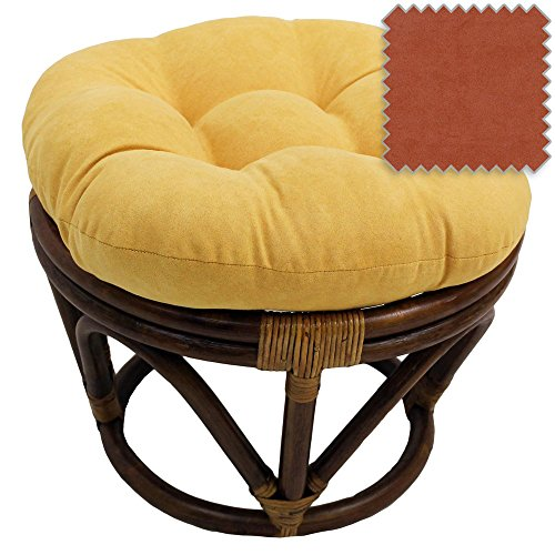 Rattan Ottoman with Micro Suede Cushion
