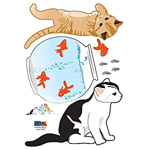 #!Cheap Easy Instant Decoration Wall Sticker Decal - Kittens with Goldfish