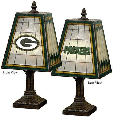 "Sports Team Stained Art Glass Window Panel Accent Lamp - 14.5""Hx7.5""Sqr, Green front-190513"
