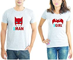 LaCrafters Couple tshirt - Batman and Batgirl Couples Tshirt_Grey_M - Set of 2