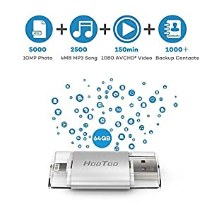 HooToo iPhone 64GB USB 3.0 Flash Drive with Lightning Connector External Storage Memory Expansion for iPads iPods Computers