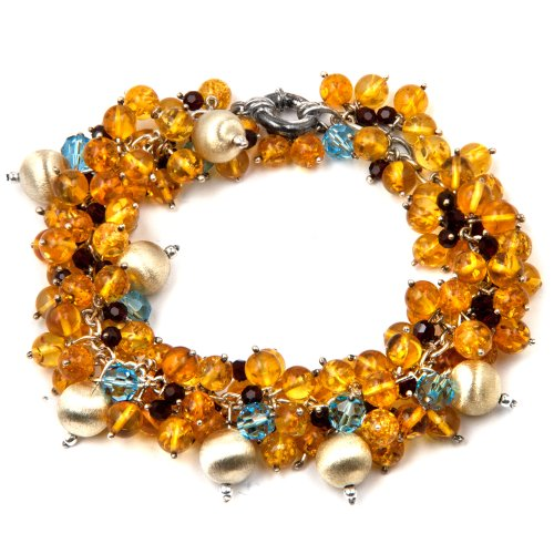Sterling Silver Multicolor Amber Tropical Fruit