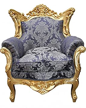 Casa Padrino Baroque Armchair 'King' Mod2 Royal Blue Pattern / Gold
