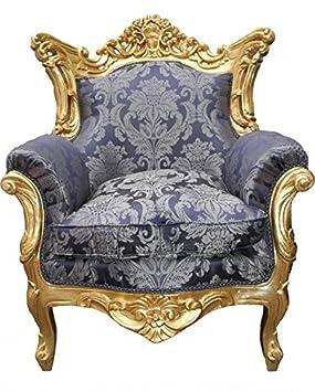 Casa Padrino Baroque Armchair 'King' Mod2 Royal Blue Pattern / Gold
