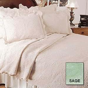 English Rose Matelasse Coverlet, Twin, Sage