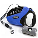 Beastron Retractable Dog Leash, 16 ft Dog Walking Leash for Medium Large Dogs up to 110lbs, Tangle Free, One Button Break & Lock , Dog Waste Dispenser and Bags included (Blue)