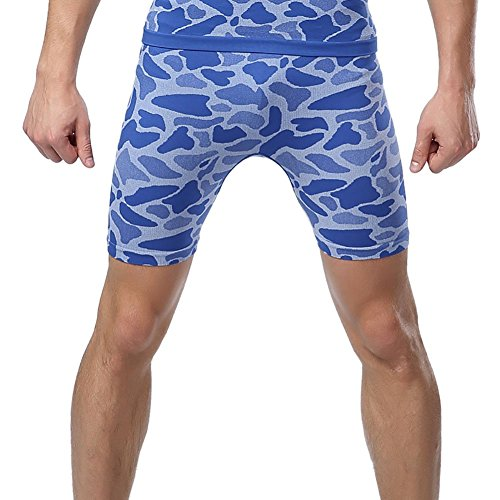 Prettywell Mens Sports Compression Quick Dry Tight Shorts MA-36 (L, Blue)
