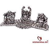 INTERNATIONAL GIFT Silver Plated Laughing Buddha Statue Oxidized Silver Finish God Idol Gift For Diwali,New Year...