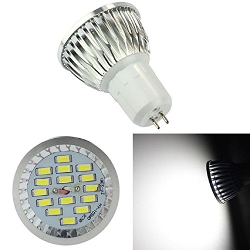Suppion New Gu5.3 6W 15 Leds 5730 Smd Led Spot Bulb Lamp Light 600Lm (Pure White)