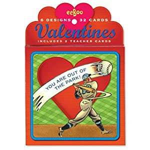 Greeting Card Valentine's Day Boxed Cards Baseball 6 Designs, 32 Cards Includes 2 Teacher Cards
