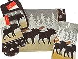 5 Piece Northwoods Moose Design Kitchen Set with Potholder, Oven Mitt, 2 Placemats & 1 Towels