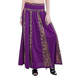 TUNTUK Women's Jingle Skirt Purple Cotton Skirt