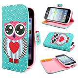 ivencase D73 Owl Painting Art Design PU leather Flip Cover Case for Samsung Galaxy S Duos S7562 + One