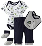 BON BEBE Baby-Boys Newborn Lets Rock 4 Piece Pant Set, Grey/Navy/White, 6-9 Months