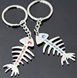 Blue Algarve & Red Portugal Fish Bone Style Drop Couple Keyring