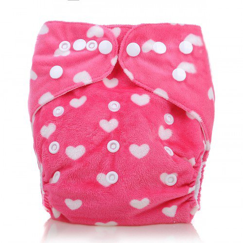 Cloth Baby Diapers Reusable Washable Breathable Adjustable Cover, Pink Printed