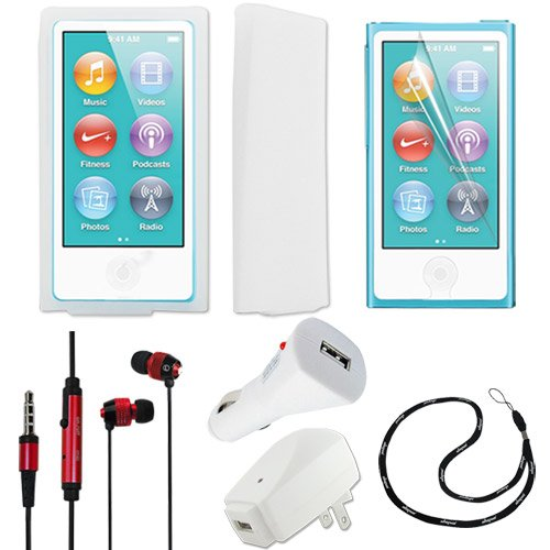 Skque Clear Silicone Skin Case Cover + Clear Lcd Screen Protector + Usb 1000Mah Home Travel Wall Charger + Rapid Car Charger + Red In-Ear Stereo Earphone Headset W/Mic + Earbud Fishbone Holder + Free Branded Lanyard For Apple Ipod Nano 7Th Generation