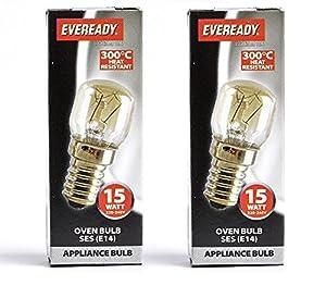 2 X 15w Universal 300c OVEN COOKER APPLIANCE Bulb Lamp SES E14 Light Bulbs 240V by Eveready