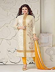 Merito Cotton Embroidered Un-stitched Dress Material with Dupatta Material