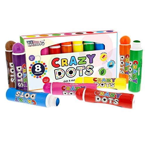us-art-supply-8-color-crazy-dots-dab-dot-markers-childrens-washable-easy-grip-non-toxic-paint-marker