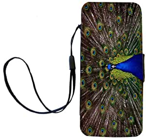 Rikki Knight Peacock with Open Feathers Flip Wallet Case with Magnetic Flap for Apple iPhone 5 and 5s